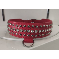 Ошейник Leather Rivet & Crystal, Red