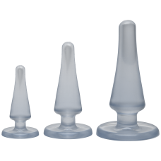 Набор анальных пробок Doc Johnson Crystal Jellies Anal - Clear, макс. диаметр 2см - 3см - 4см