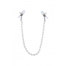 Зажимы для сосков с жемчугом Feral Feelings - Nipple clamps Pearls, серебро/белый
